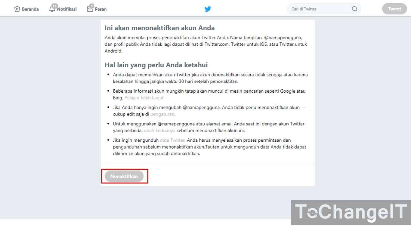 cara menghapus akun twitter yang terkunci