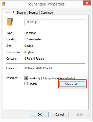 advanced properties folder