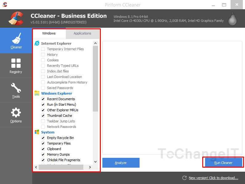 membersihkan cache dengan ccleaner
