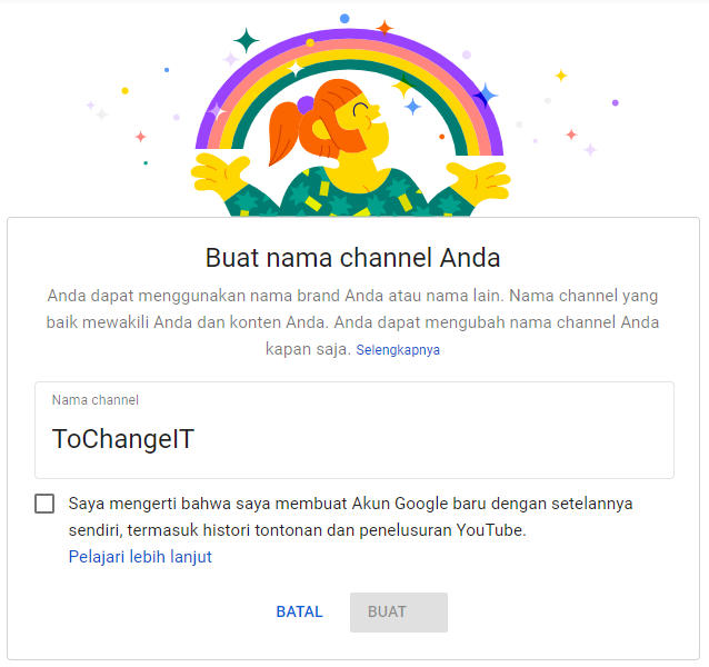 membuat channel youtube baru