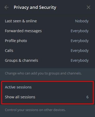 active sessions telegram