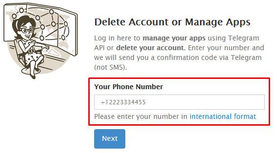cara delete akun telegram