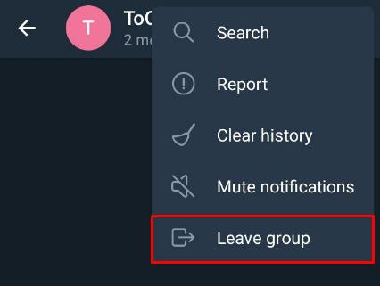 cara keluar dari grup telegram android