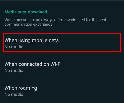 when using mobile data whatsapp