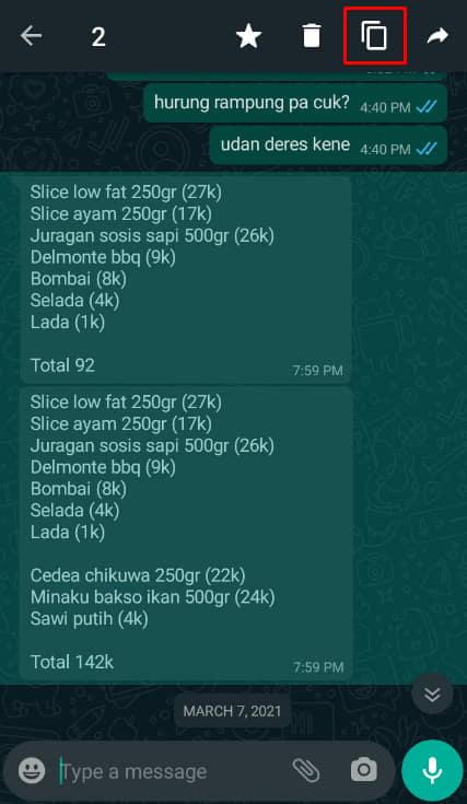 cara mengirim percakapan whatsapp ke orang lain