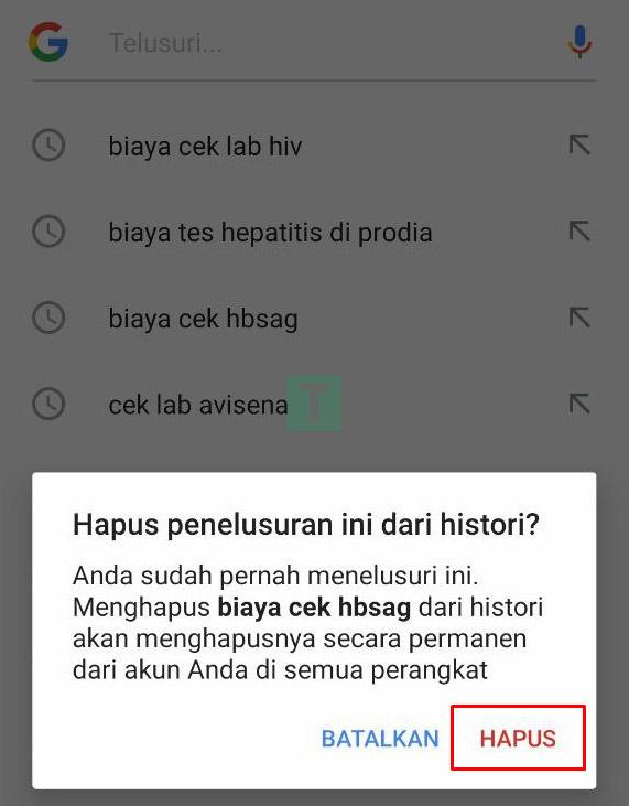 cara menghapus keyword pencarian di google android