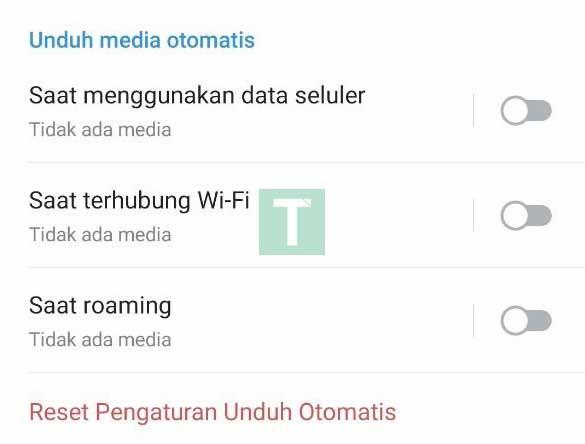 matikan unduh media otomatis telegram
